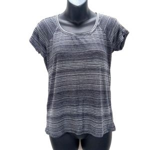 Athleta Striped Workout Grey/Black T-Shirt Top  XS